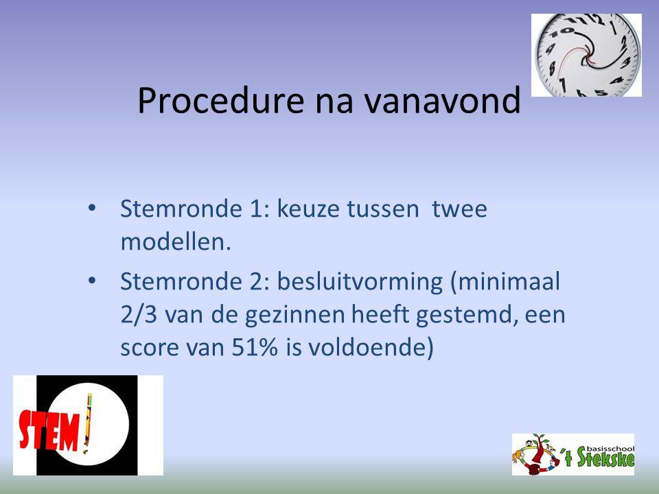 Procedure na vanavond Stemronde 1: keuze tussen twee modellen.