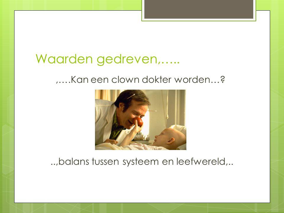 Waarden gedreven,….. ,….Kan een clown dokter worden… ..,balans tussen systeem en leefwereld,..