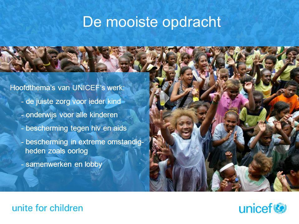 De mooiste opdracht Hoofdthema's van UNICEF's werk: