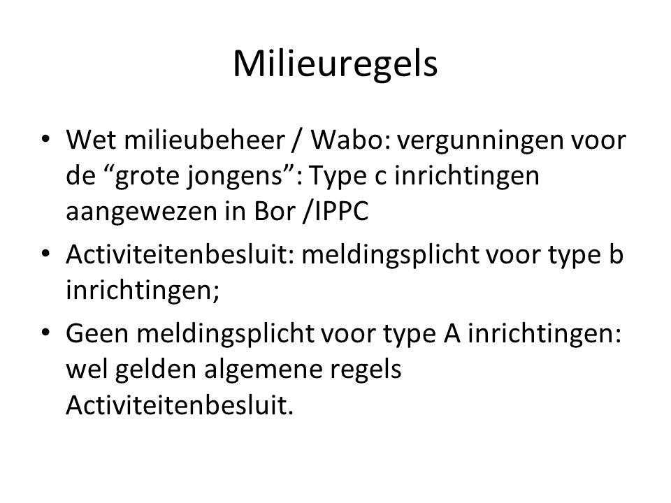Milieuregels Wet milieubeheer / Wabo: vergunningen voor de grote jongens : Type c inrichtingen aangewezen in Bor /IPPC.