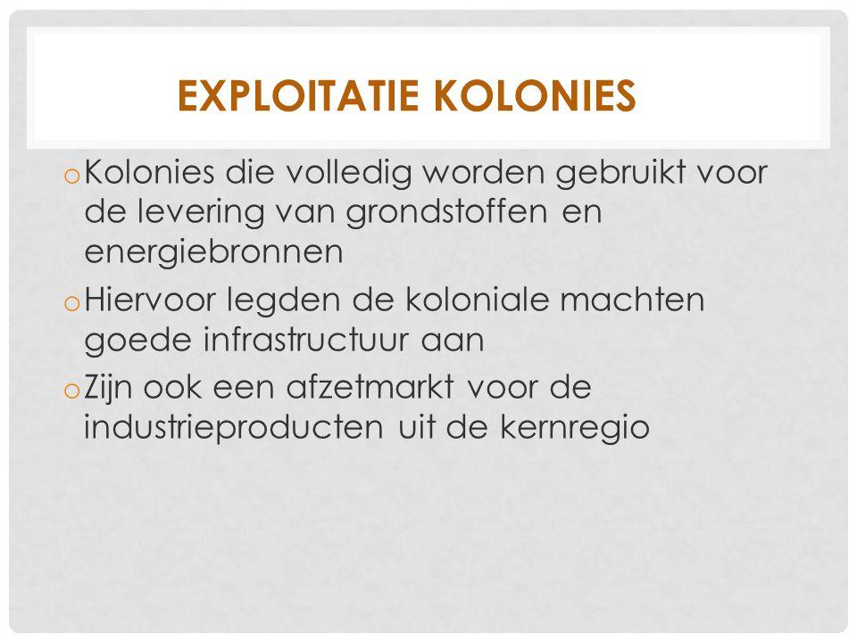 Exploitatie kolonies Kolonies die volledig worden gebruikt voor de levering van grondstoffen en energiebronnen.