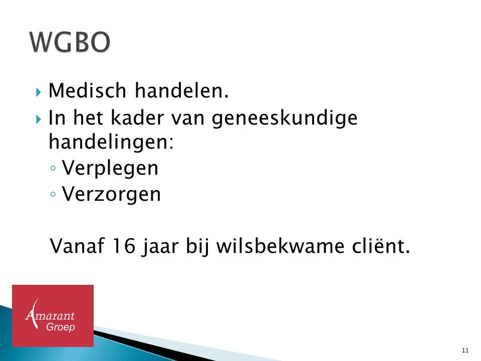WGBO Medisch handelen. In het kader van geneeskundige handelingen: