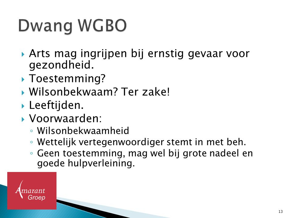 Dwang WGBO Arts mag ingrijpen bij ernstig gevaar voor gezondheid.