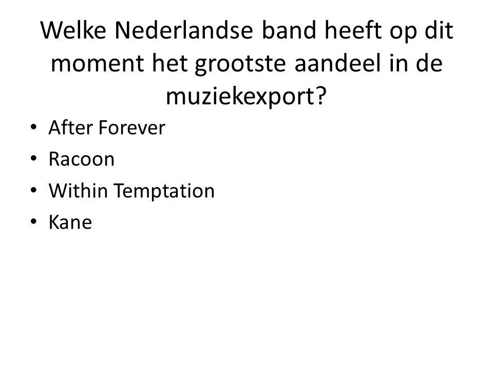 Welke Nederlandse band heeft op dit moment het grootste aandeel in de muziekexport