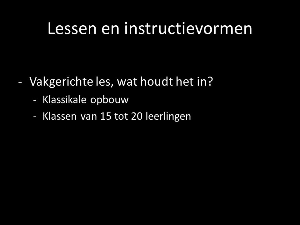 Lessen en instructievormen