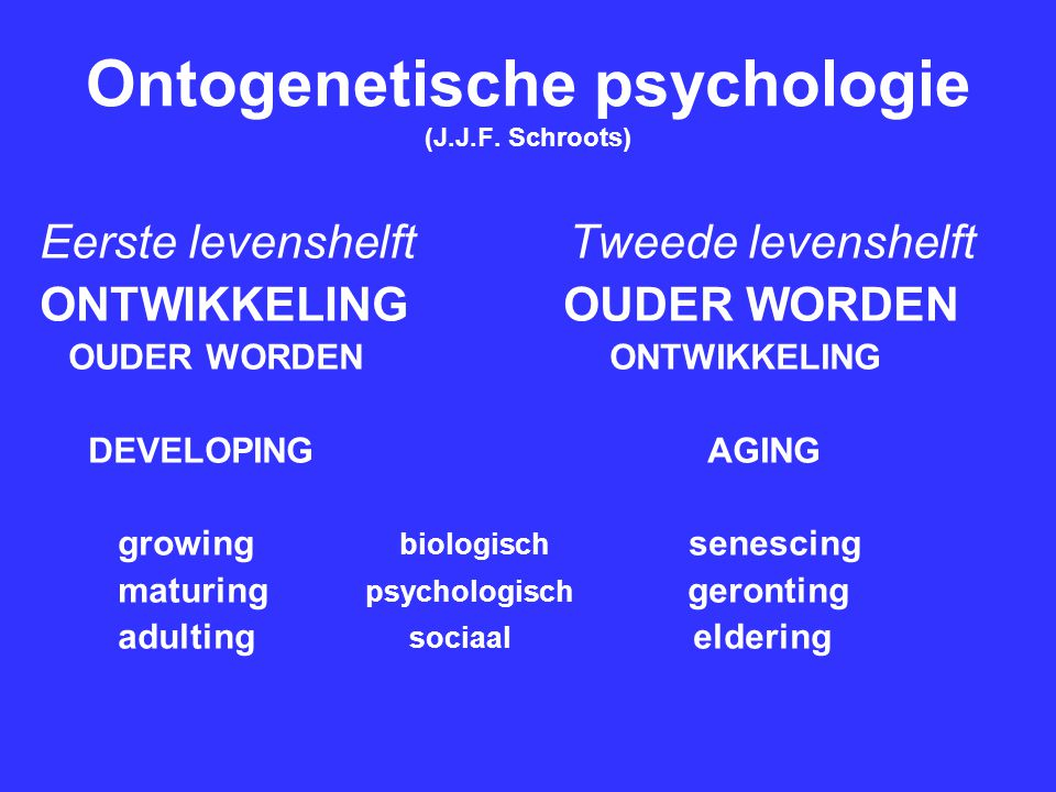 Ontogenetische psychologie (J.J.F. Schroots)