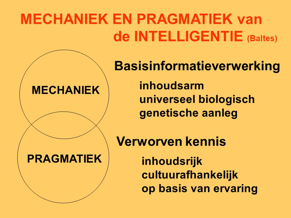 MECHANIEK EN PRAGMATIEK van de INTELLIGENTIE (Baltes)