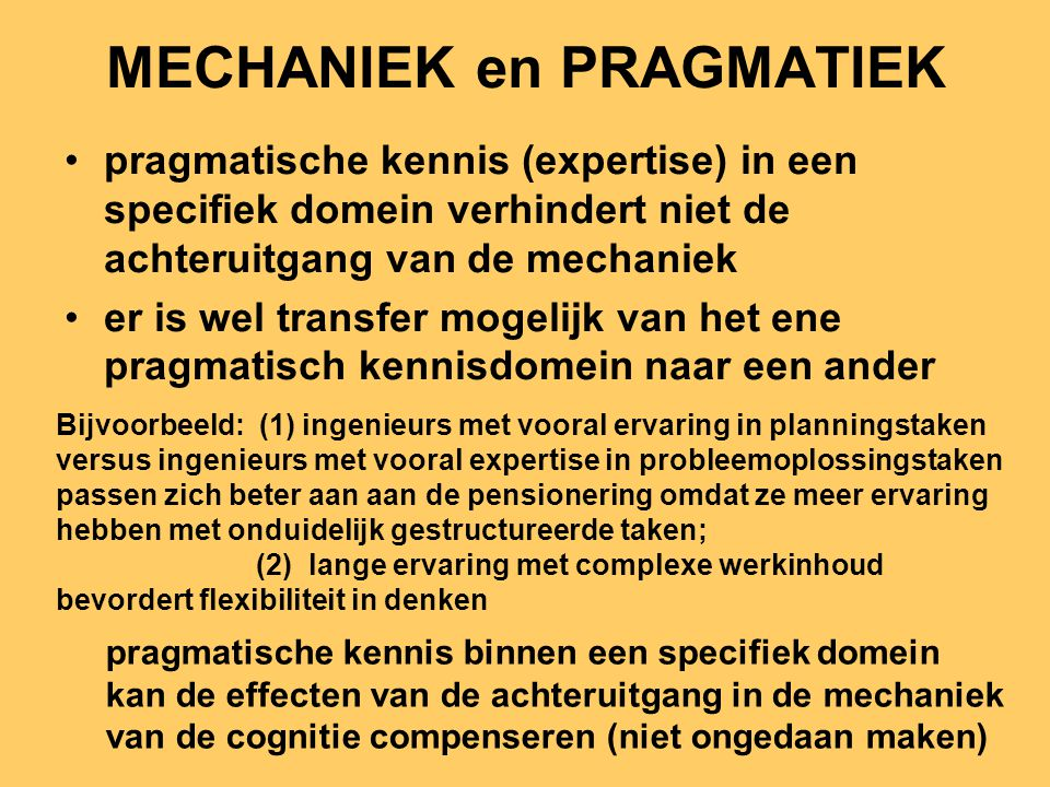 MECHANIEK en PRAGMATIEK
