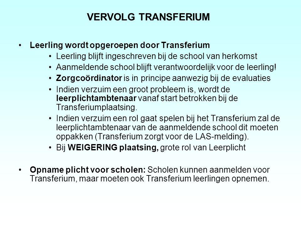 VERVOLG TRANSFERIUM Leerling wordt opgeroepen door Transferium
