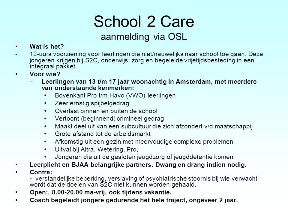 School 2 Care aanmelding via OSL