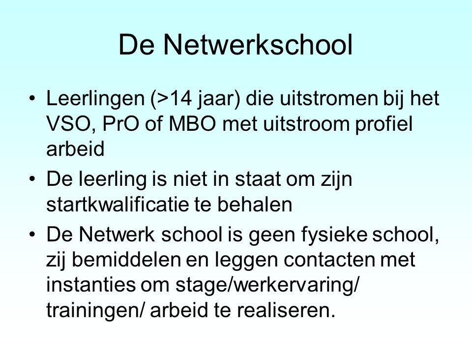 De Netwerkschool Leerlingen (>14 jaar) die uitstromen bij het VSO, PrO of MBO met uitstroom profiel arbeid.