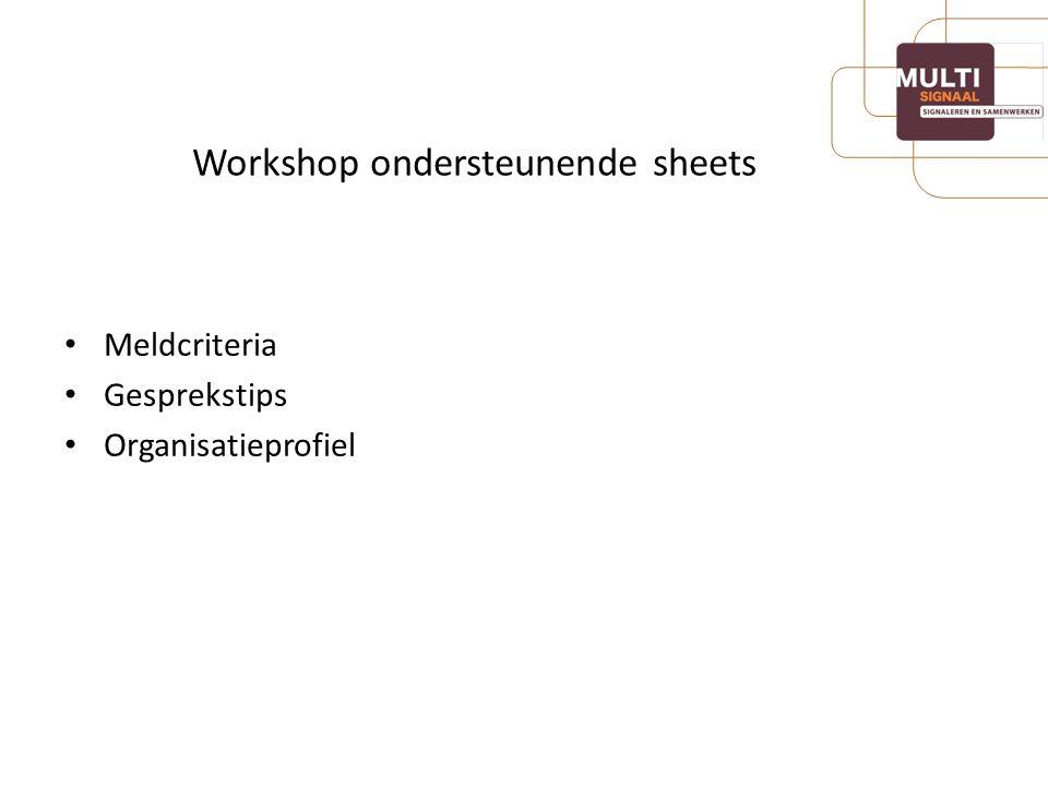 Workshop ondersteunende sheets