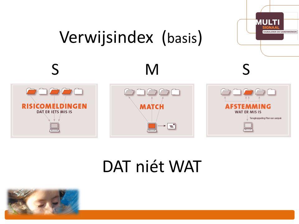 Verwijsindex (basis) S M S DAT niét WAT
