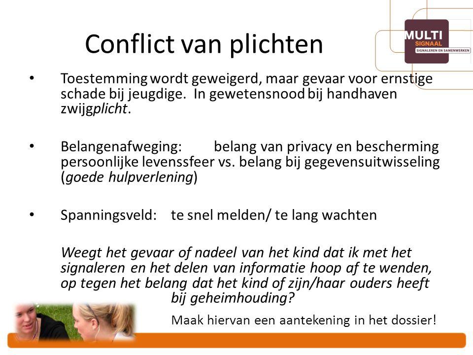 Conflict van plichten Maak hiervan een aantekening in het dossier!