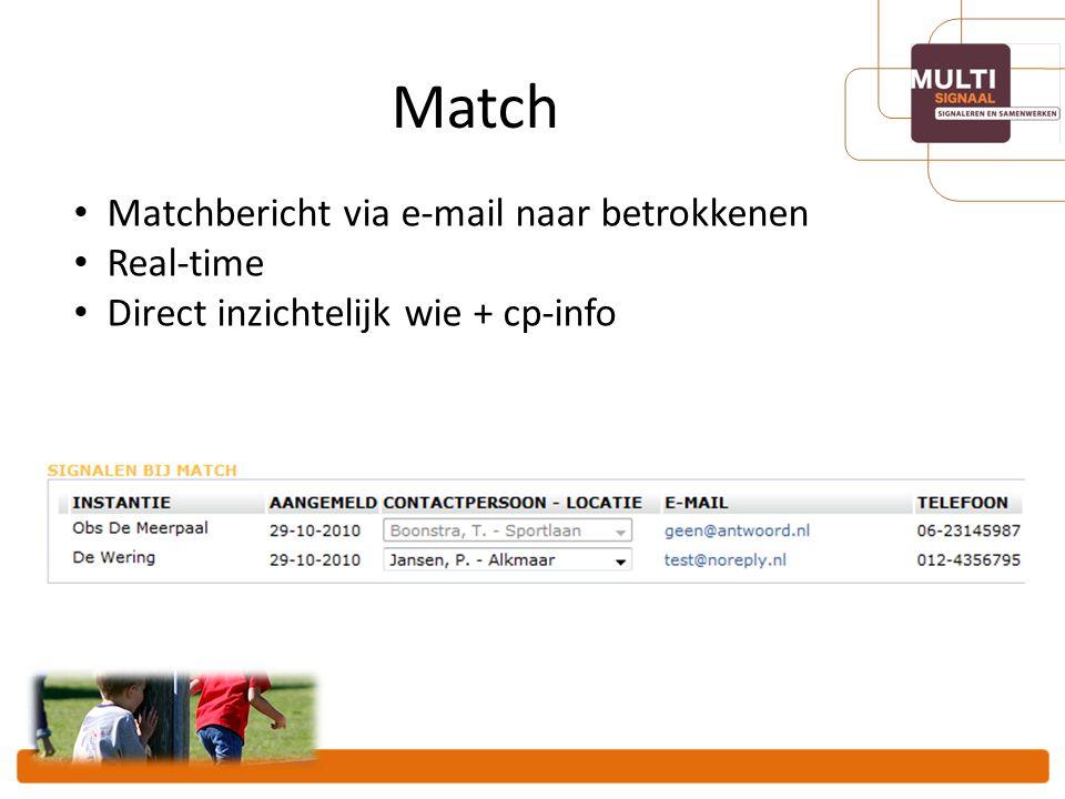 Match Matchbericht via e-mail naar betrokkenen Real-time