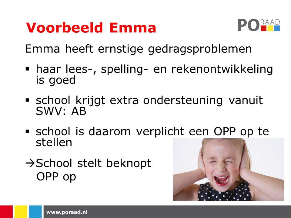 Voorbeeld Emma Emma heeft ernstige gedragsproblemen