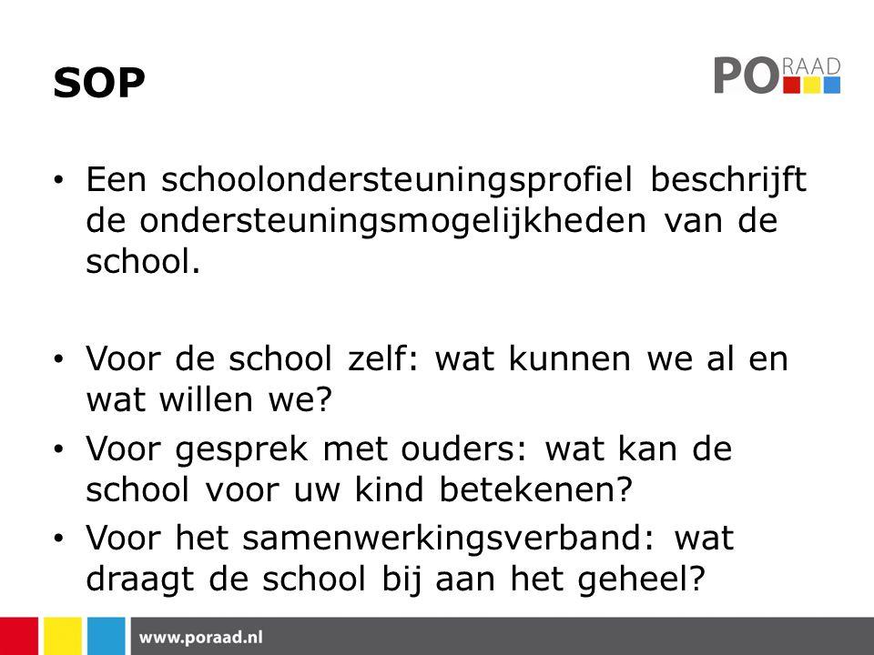 SOP Een schoolondersteuningsprofiel beschrijft de ondersteuningsmogelijkheden van de school. Voor de school zelf: wat kunnen we al en wat willen we