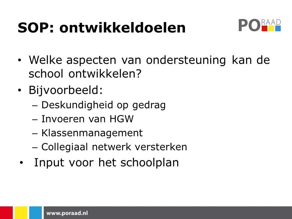 SOP: ontwikkeldoelen Welke aspecten van ondersteuning kan de school ontwikkelen Bijvoorbeeld: Deskundigheid op gedrag.