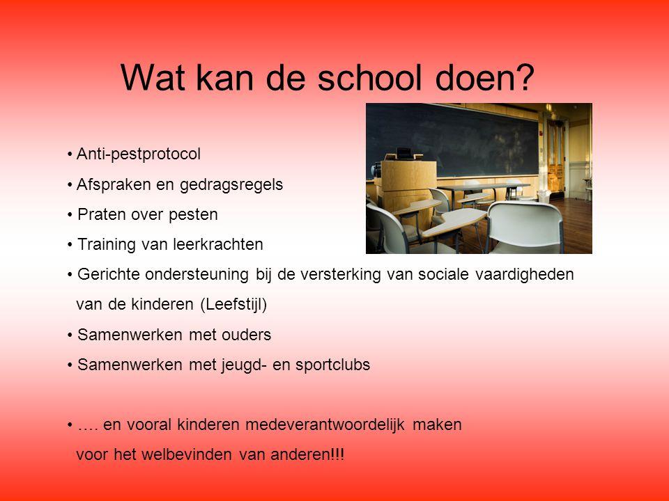 Wat kan de school doen • Anti-pestprotocol