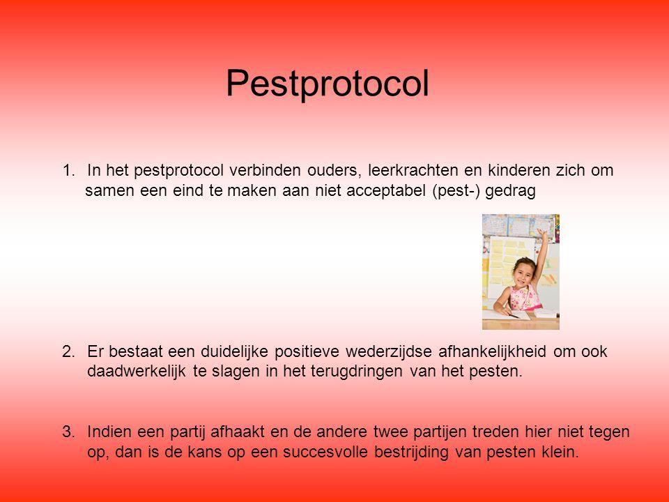 Pestprotocol In het pestprotocol verbinden ouders, leerkrachten en kinderen zich om. samen een eind te maken aan niet acceptabel (pest-) gedrag.