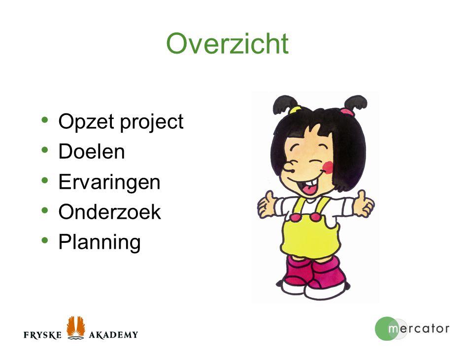 Overzicht Opzet project Doelen Ervaringen Onderzoek Planning