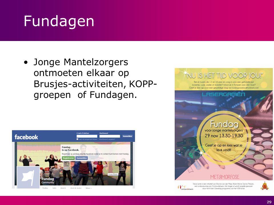 Fundagen Jonge Mantelzorgers ontmoeten elkaar op Brusjes-activiteiten, KOPP-groepen of Fundagen.