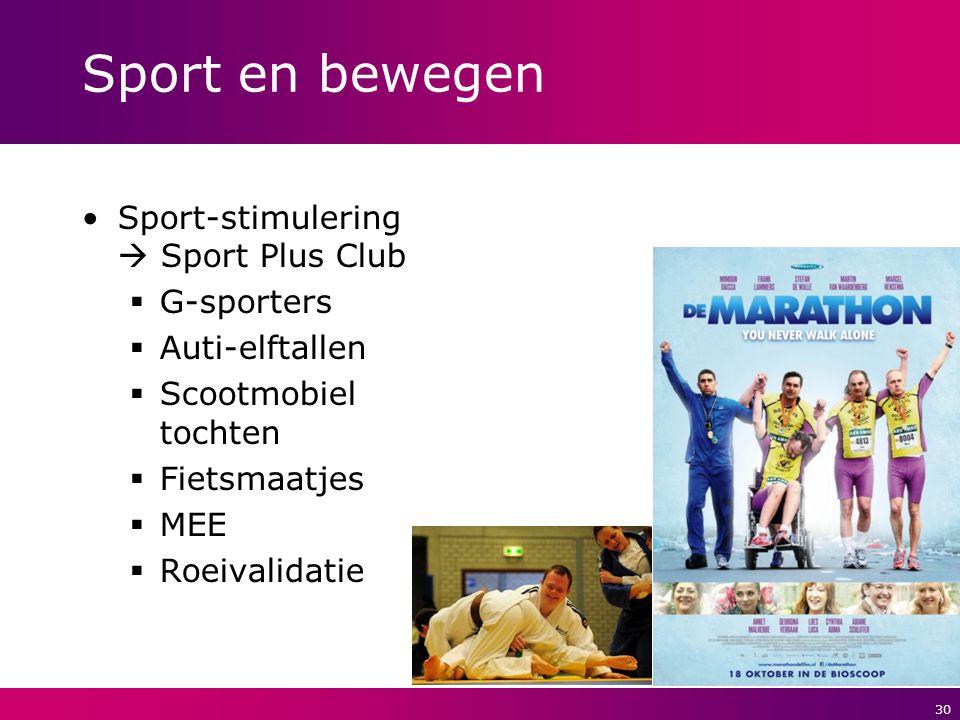 Sport en bewegen Sport-stimulering  Sport Plus Club G-sporters