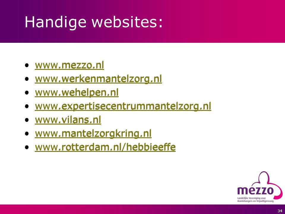 Handige websites: www.mezzo.nl www.mezzo.nl www.werkenmantelzorg.nl