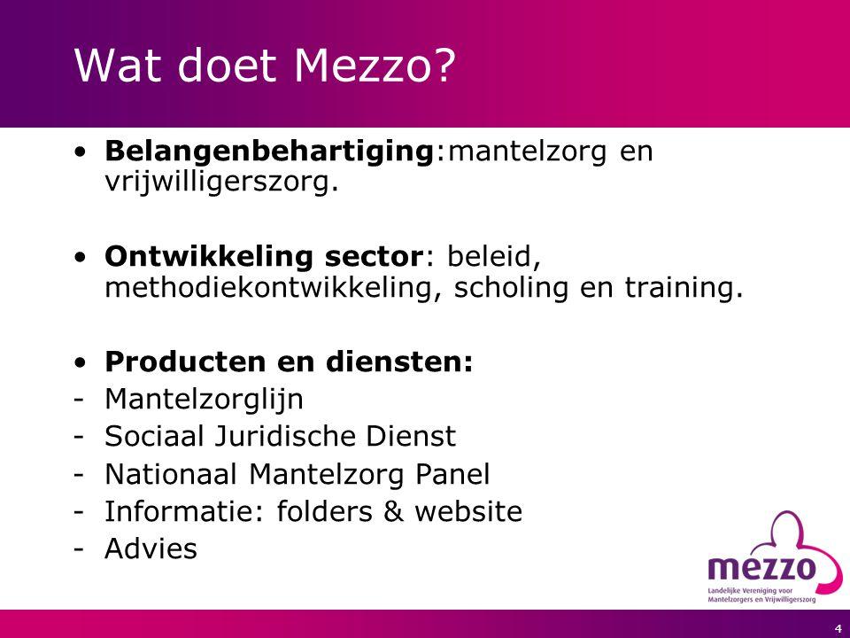 Wat doet Mezzo Belangenbehartiging:mantelzorg en vrijwilligerszorg.