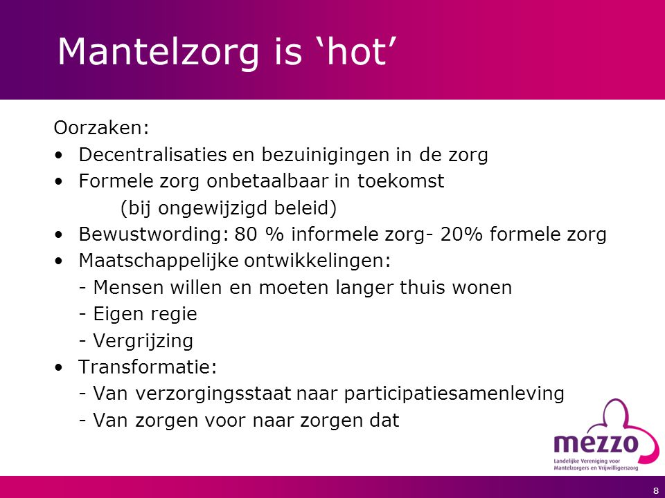 Mantelzorg is 'hot' Oorzaken: