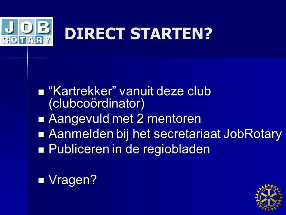 DIRECT STARTEN Kartrekker vanuit deze club (clubcoördinator)
