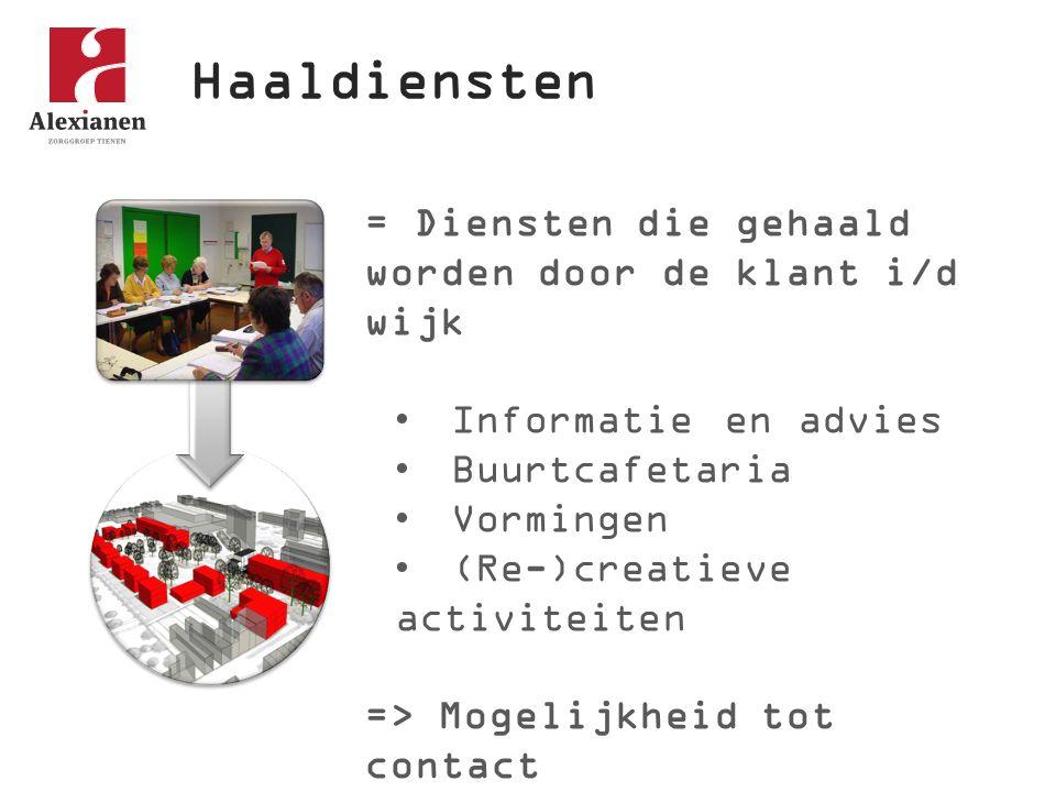 Haaldiensten = Diensten die gehaald worden door de klant i/d wijk