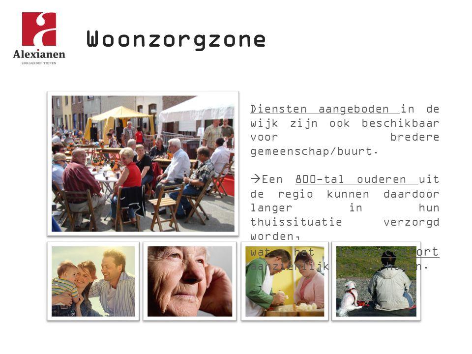 Woonzorgzone Diensten aangeboden in de wijk zijn ook beschikbaar voor bredere gemeenschap/buurt.