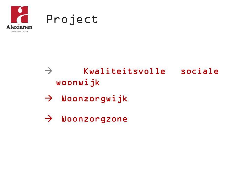 Project  Kwaliteitsvolle sociale woonwijk Woonzorgwijk Woonzorgzone