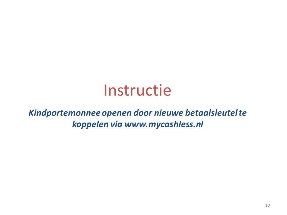 Instructie Kindportemonnee openen door nieuwe betaalsleutel te koppelen via www.mycashless.nl