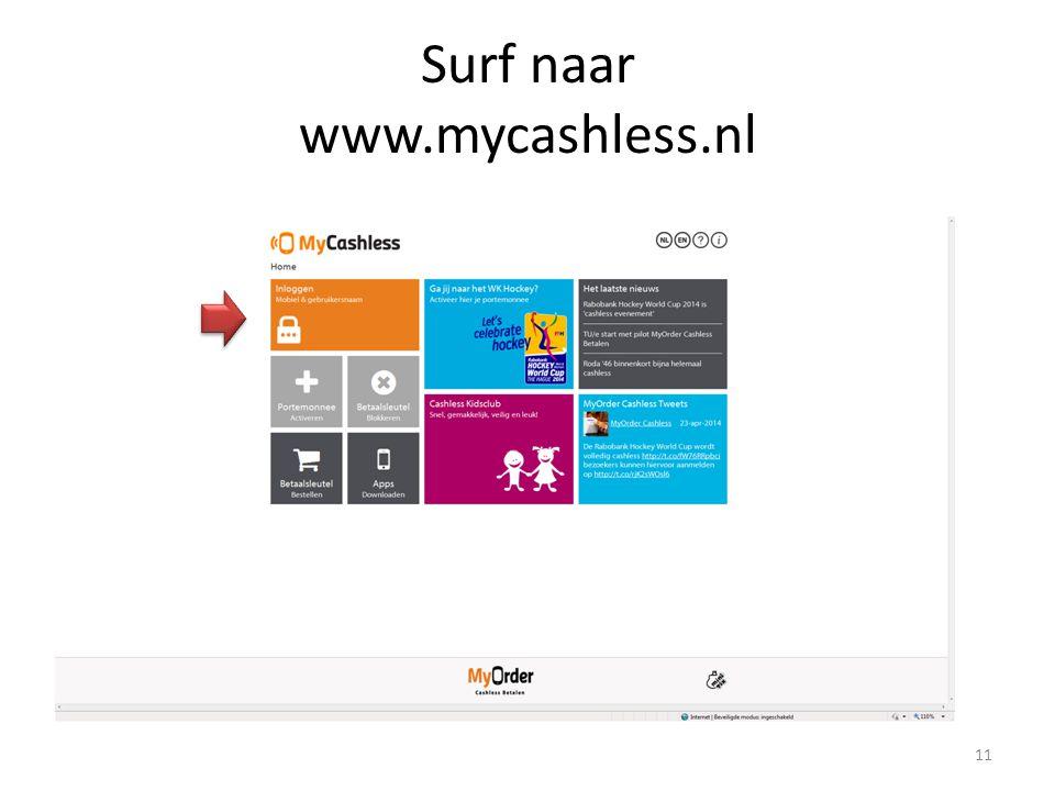 Surf naar www.mycashless.nl
