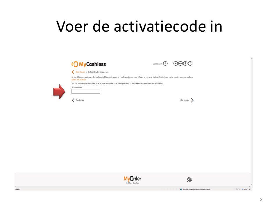 Voer de activatiecode in