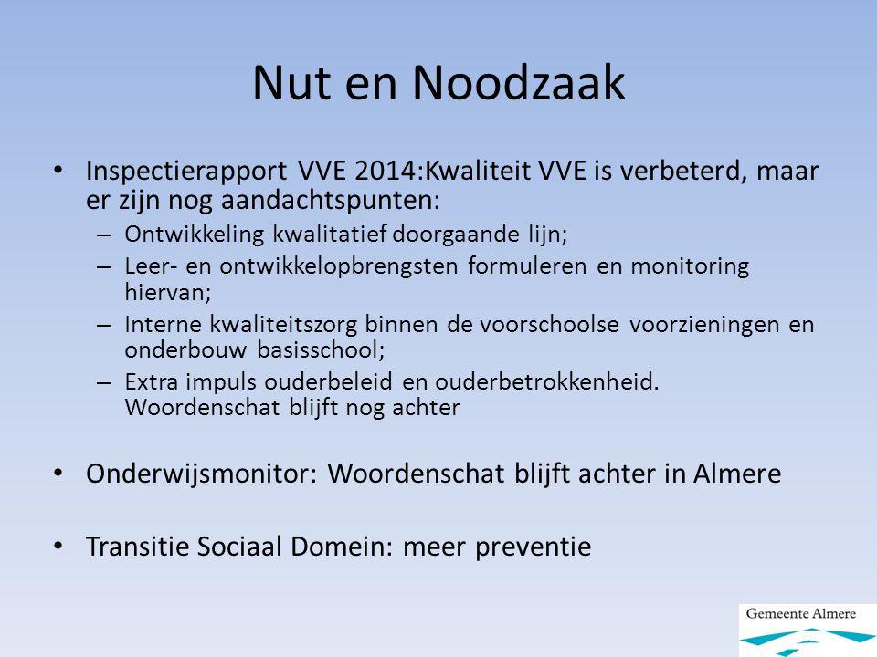 Nut en Noodzaak Inspectierapport VVE 2014:Kwaliteit VVE is verbeterd, maar er zijn nog aandachtspunten: