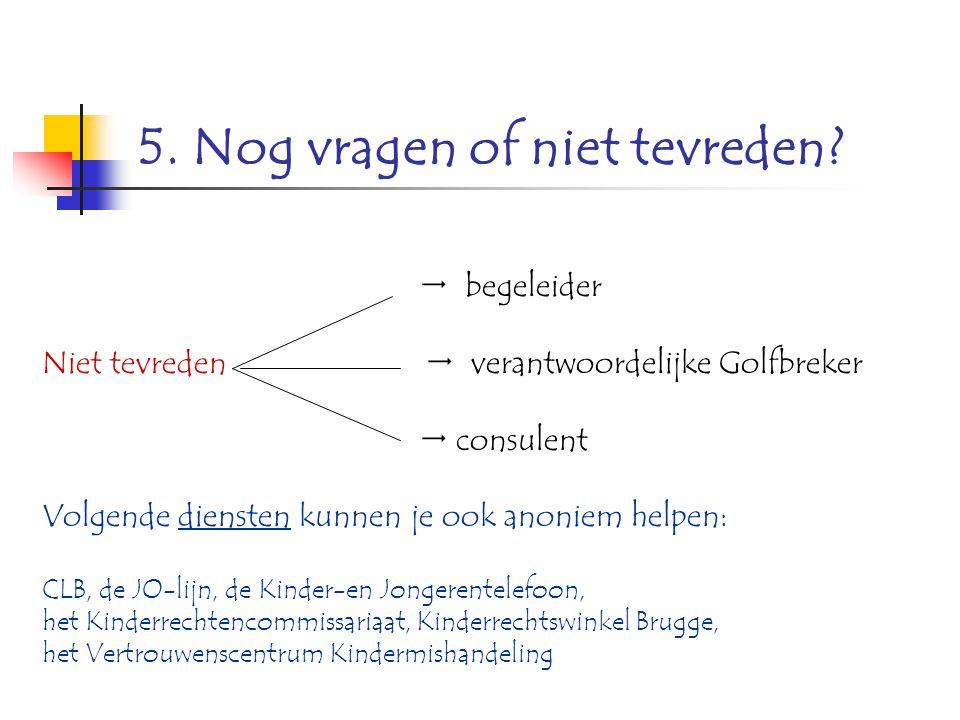 5. Nog vragen of niet tevreden