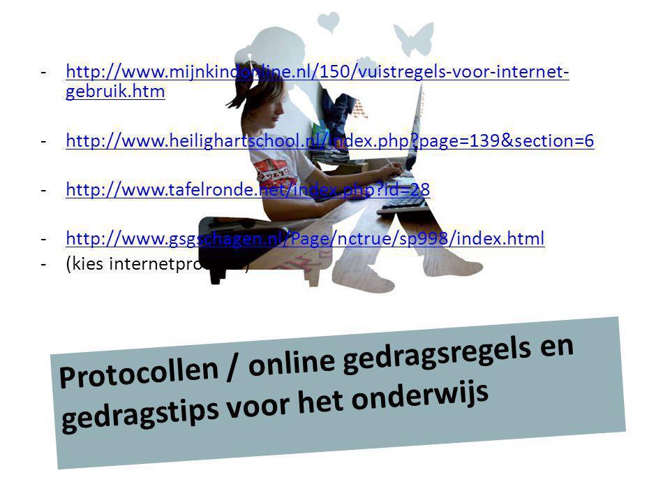 Protocollen / online gedragsregels en gedragstips voor het onderwijs
