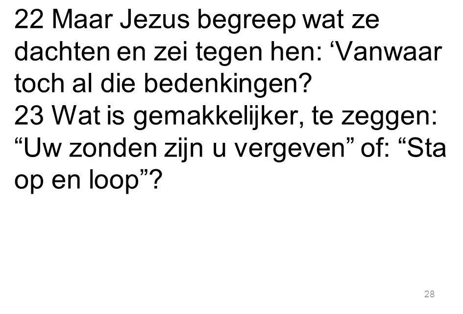 22 Maar Jezus begreep wat ze dachten en zei tegen hen: 'Vanwaar toch al die bedenkingen