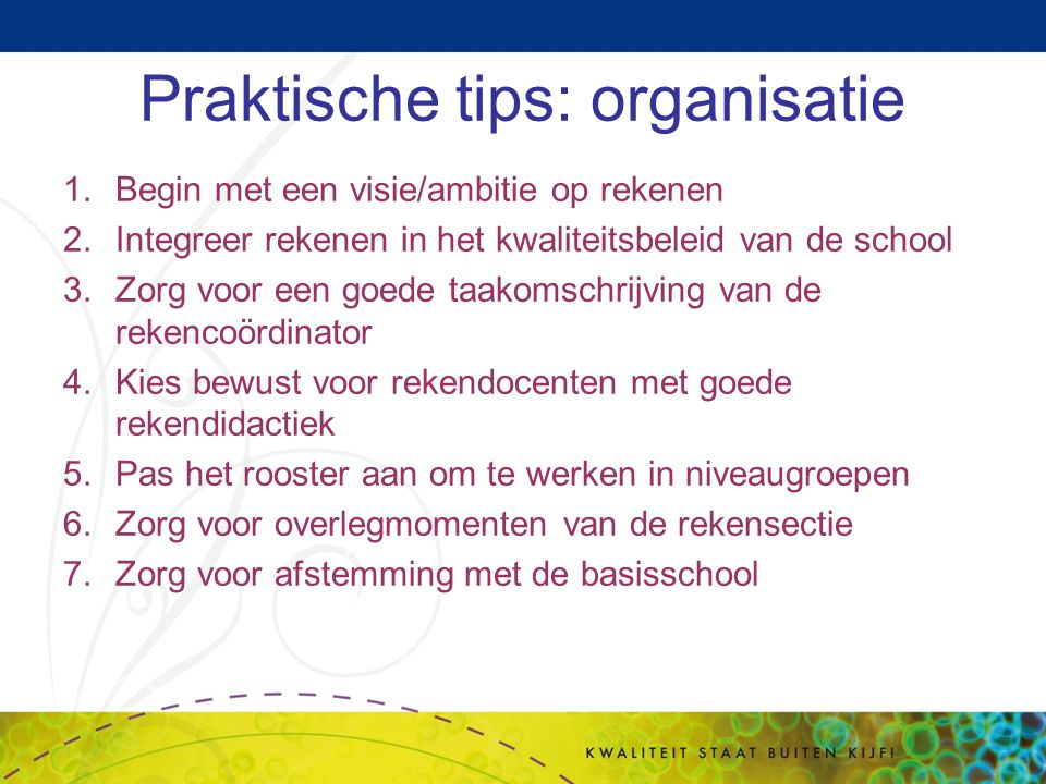 Praktische tips: organisatie