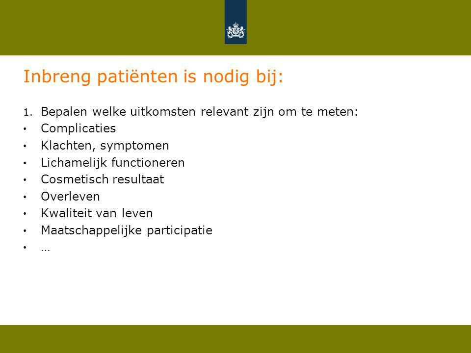 Inbreng patiënten is nodig bij: