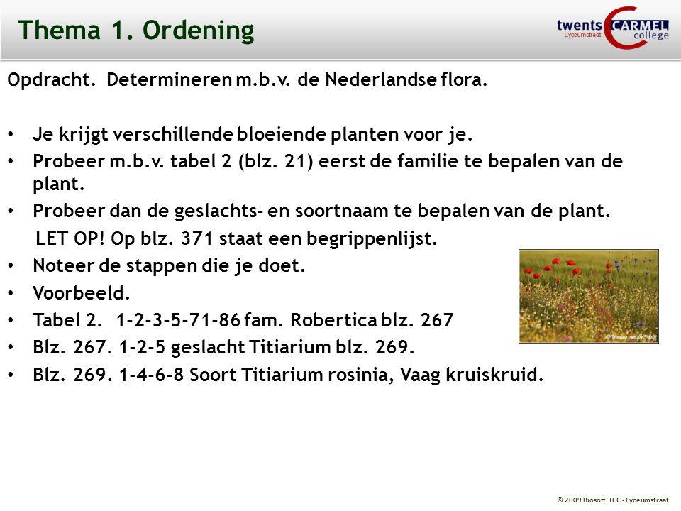 Thema 1. Ordening Opdracht. Determineren m.b.v. de Nederlandse flora.