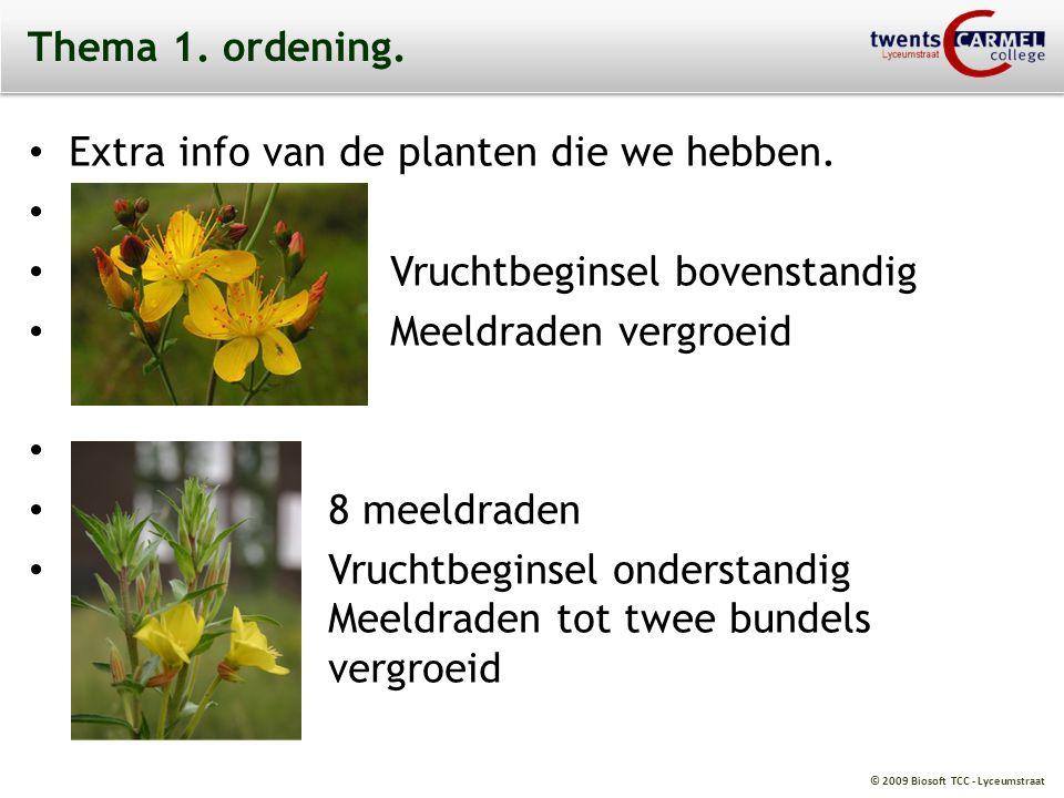 Thema 1. ordening. Extra info van de planten die we hebben. , Vruchtbeginsel bovenstandig. Meeldraden vergroeid.