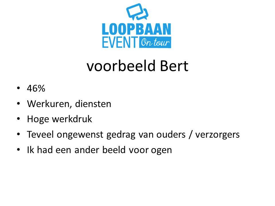 voorbeeld Bert 46% Werkuren, diensten Hoge werkdruk