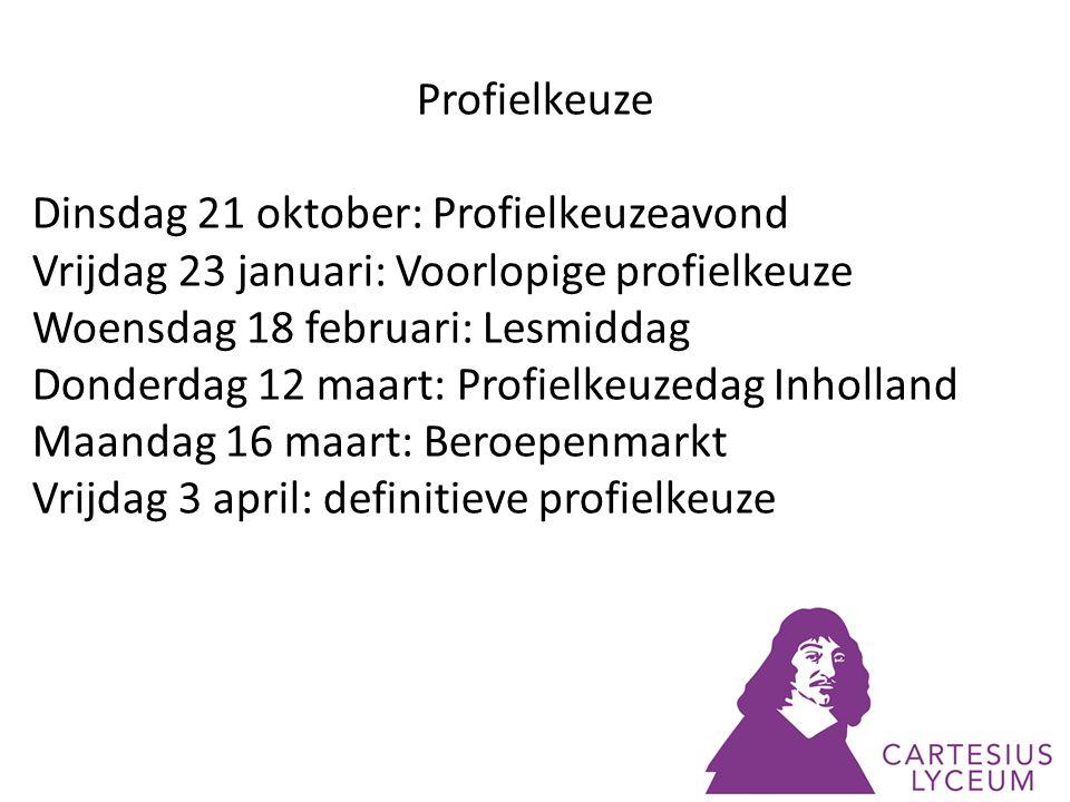 Profielkeuze Dinsdag 21 oktober: Profielkeuzeavond. Vrijdag 23 januari: Voorlopige profielkeuze. Woensdag 18 februari: Lesmiddag.