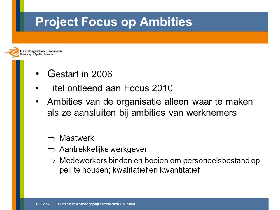 Project Focus op Ambities