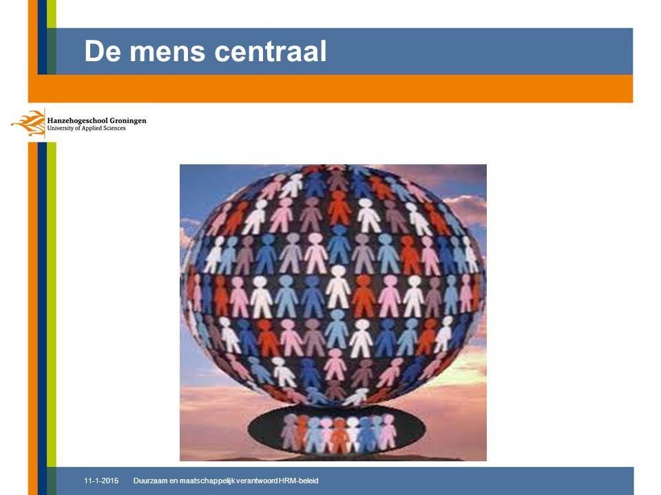 De mens centraal 8-4-2017 Duurzaam en maatschappelijk verantwoord HRM-beleid