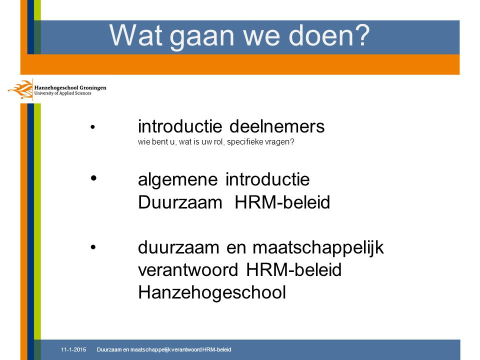 Wat gaan we doen algemene introductie Duurzaam HRM-beleid